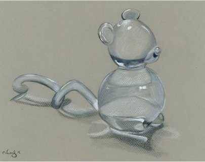 crystal mouse. colour pencil on tinted paper. 21x29