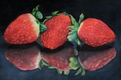 strawberries in the mirror. Colour pencil on 21x29cm paper